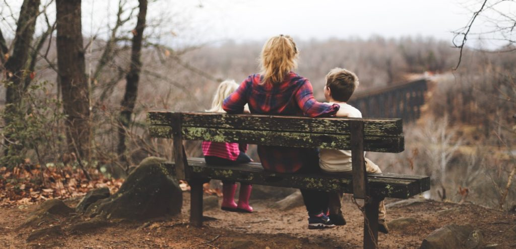 Photo by Benjamin Manley on Unsplash – mom & kids on bench
