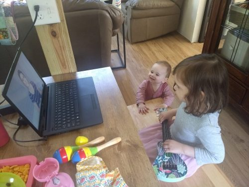 """My toddlers enjoying """"Toddler Time"""" via Chattanooga Public Library's Facebook page."""